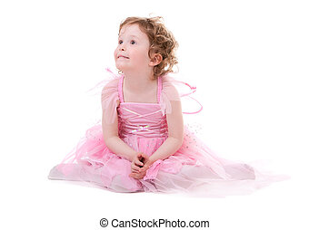 Little Fairy - Cute curly haired girl in little fairy dress...