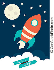 Space Rocket - An illustration of a rocket flying into space
