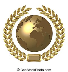golden globe with laurel wreath