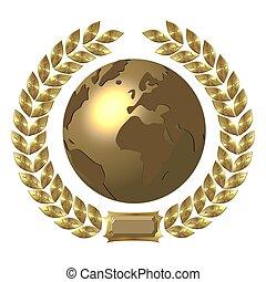 golden globe with laurel wreath