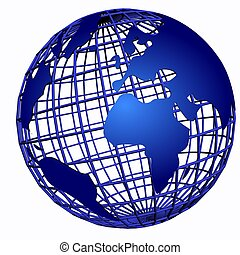 isolated net globe blue