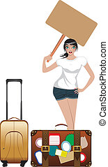 Hitchhiking Girl - Woman with huge leather case is...