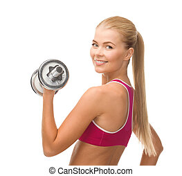 smiling woman with heavy steel dumbbell - fintess,...