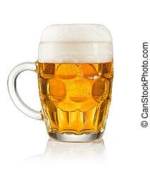 mitad, litre, vidrio, cerveza, blanco, Plano de fondo