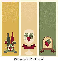 Vertical banners with grapes and wine.