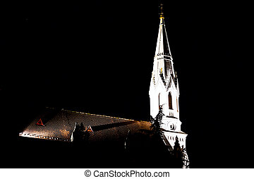 Church tower at night - Night shot of the Adventist church...