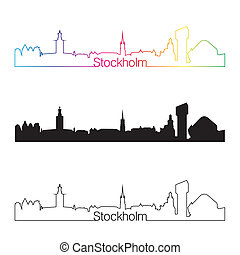 Stockholm skyline linear style with rainbow in editable...