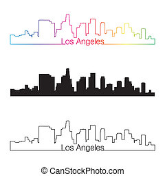 Los Angeles skyline linear style with rainbow in editable...