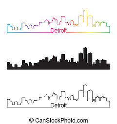 Detroit skyline linear style with rainbow in editable vector...