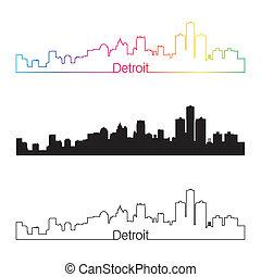 Detroit skyline linear style with rainbow in editable vector...