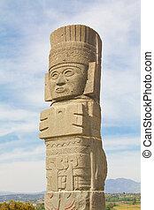 toltec sculpture in Tula Mexico