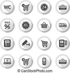 Shopping flat icons set 03