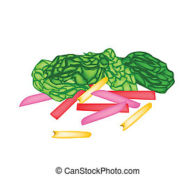 Fresh Rainbow Swiss Chards on White Background - Vegetable,...