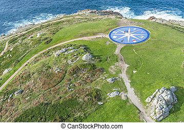 Compass rose in A Coruna, Galicia, Spain. - Compass rose...