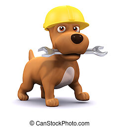 3d Puppy mechanic - 3d render of a dog wearing a hard hat...