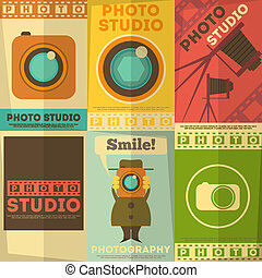 Photo Studio Poster Set of Photographic Placards in Flat...