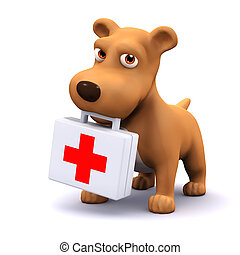 3d Puppy medic - 3d render of a dog with a first aid kit