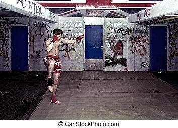 Urban fighter - An urban street fighter in an graffiti...