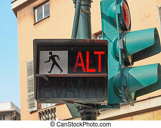 Red traffic light - Traffic light for pedestrian crossing...