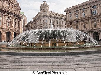 Piazza de Ferrari in Genoa - Fountain in Piazza De Ferrari...
