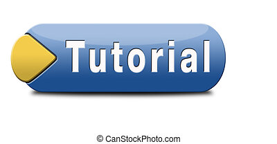 tutorial learn online video lesson, website button banner or...