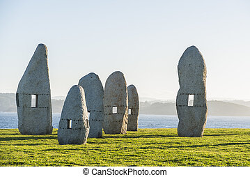 Menhirs park in A Coruna, Galicia, Spain - Menhirs park on...