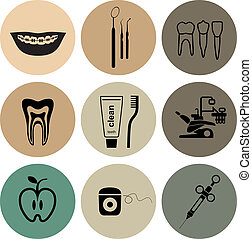 Dental icons in color circles on white background