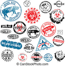 Rubber stamps Swine Flu grunge - Collection of rubber stamps...