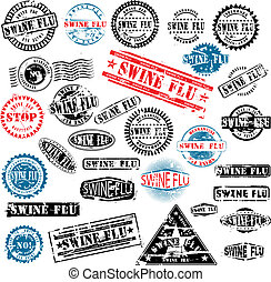 Rubber stamps Swine Flu grunge