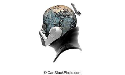 cyborg head, robot, loop