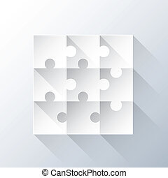 Puzzle piece grid with long shadows vector illustration