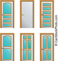 Set of 6 white painted doors with golden profiles with glass...