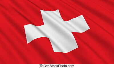 Flag of Switzerland, seamless loop - Flag of Switzerland...