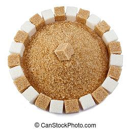 Cubo, granulado, montón, azúcar