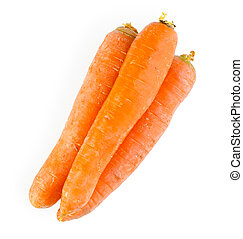 Three fresh carrots -isolated on white