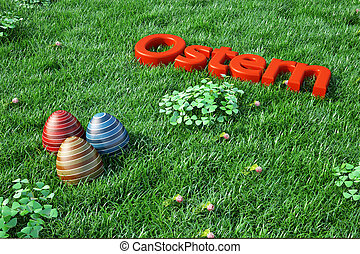 Easter background with red text in green grass