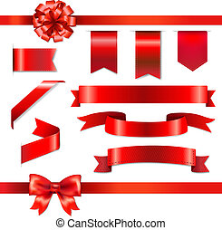 Red Bow With Ribbons Set, With Gradient Mesh, Vector...