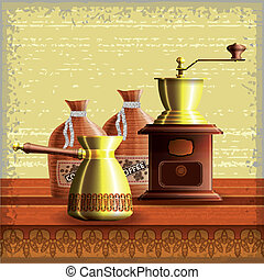 Set of coffee mill, turkish cezve and textile bag standing...