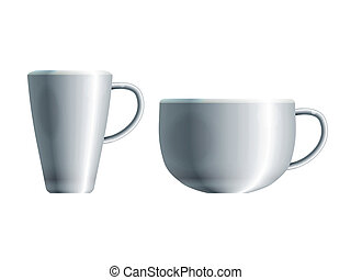 Realistic drawing of two cups - Realistic drawing of two...