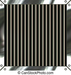 Shiny Metal Grille - A shiny metallic air vent grille that...