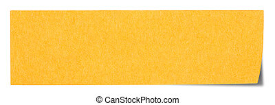 Orange rectangular sticky note isolated on white background,...