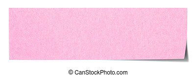 Pink rectangular sticky note isolated on white background,...