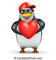 3d Romantic penguin - 3d render of a penguin holding a red...