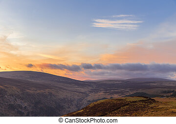 Sally Gap in Wicklow Mountains at twilight