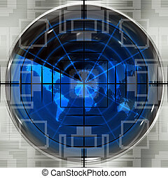 World Sniper Scope - The world map in a radar screen with...