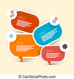 One, Two, Three, Four, Vector Paper Progress Steps for Tutorial, Infographics