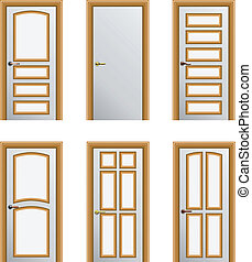 Set of 6 doors - Set of 6 white painted doors with golden...