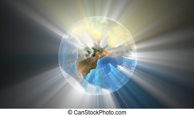 Earth Beams - 3d spinning globe with radiant beams of light,...