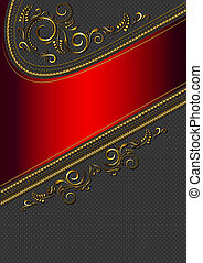 Red border with gold pattern on black background in flecked...