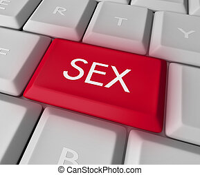 Sex Key on Computer Keyboard - A keyboard with a red key...